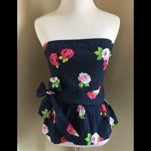 NWT Gilly Hicks Small Navy Floral tube top Rose